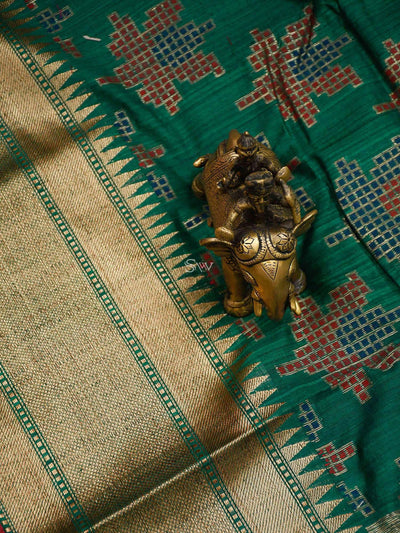 Dark Green Color Floral Resham Boota Pure Dupion Silk Banarasi Saree