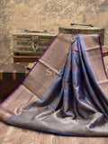 Bluish Grey Color Antique Zari Broad Border Pure Dupion Silk Banarasi Saree - Sacred Weaves