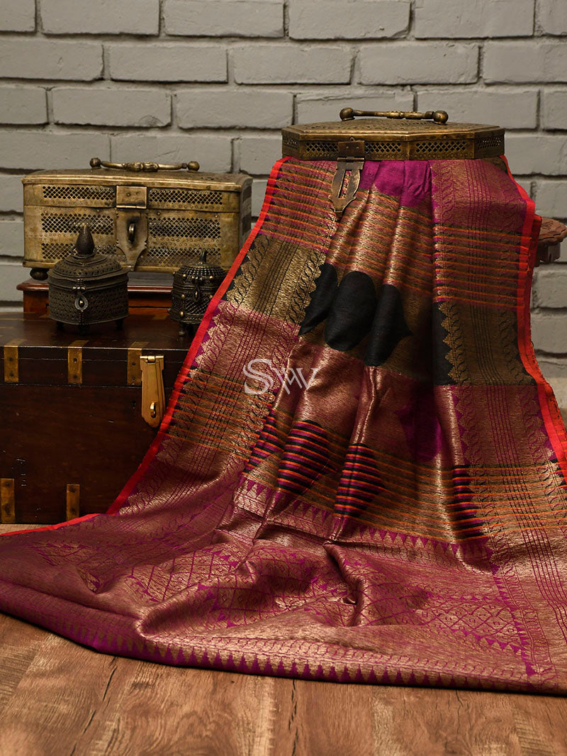 Black-Purple Dupion Silk Handloom Banarasi Saree - Sacred Weaves