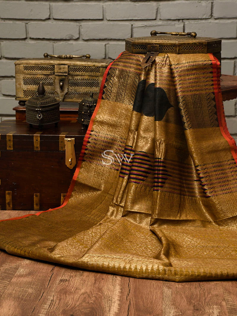 Beige-Black Dupion Silk Handloom Banarasi Saree - Sacred Weaves