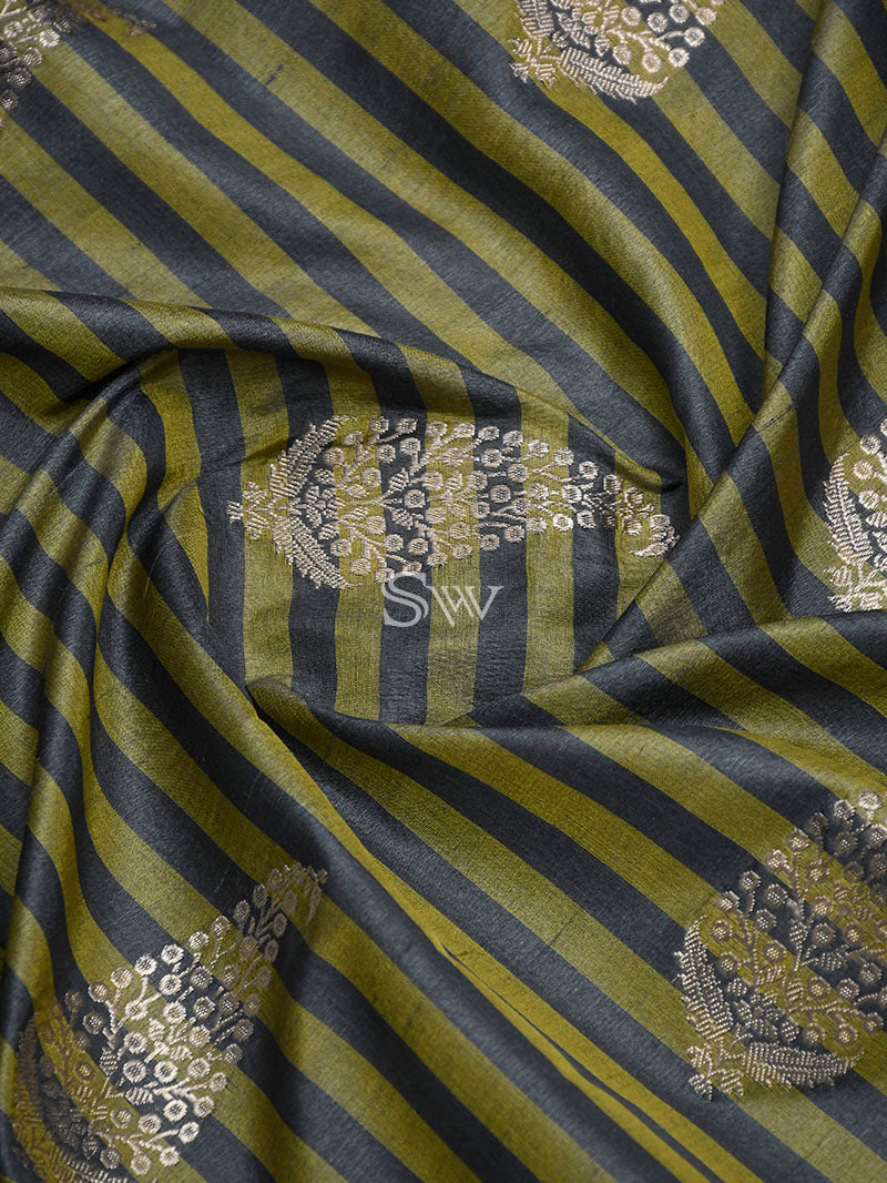 Olive Green Katan Silk Handloom Banarasi Saree - Sacred Weaves