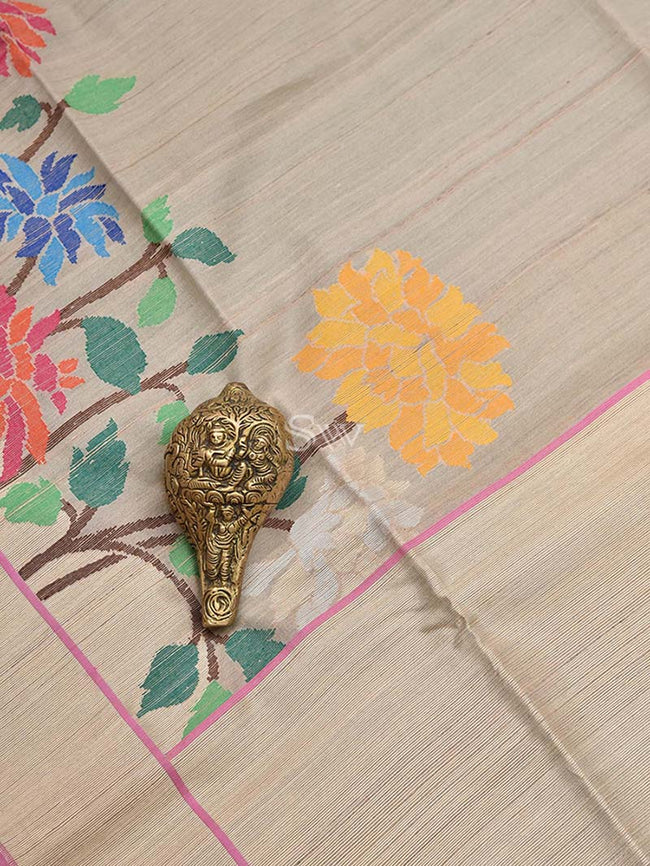 Classic Beige Color Meenakari Skirt Border Pure Tussar Silk Banarasi Saree - Sacred Weaves