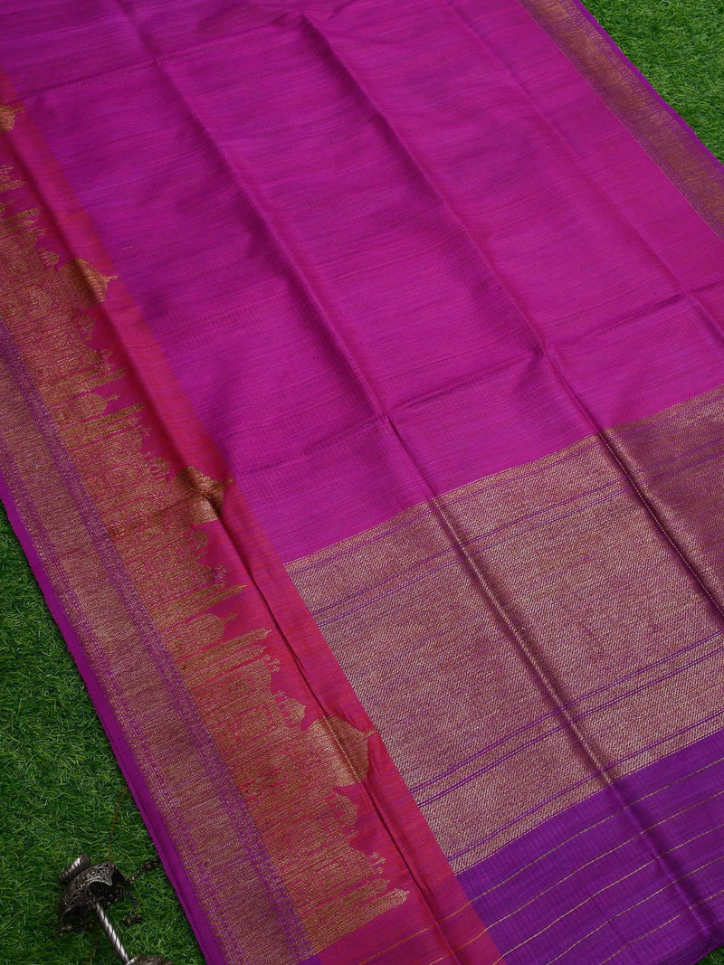 Purple Color Broad Border Pure Dupion Silk Banarasi Saree- Sacred Weaves