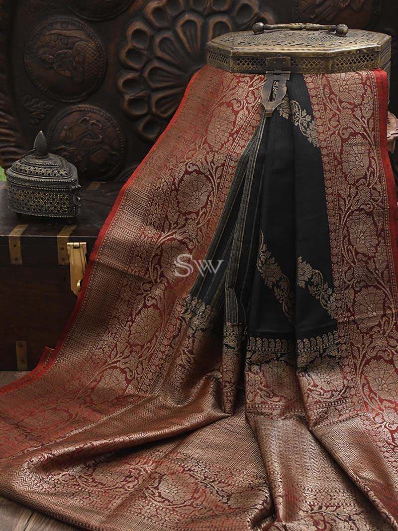 Black Dupion Silk Leheriya Handloom Banarasi Saree - Sacred Weaves