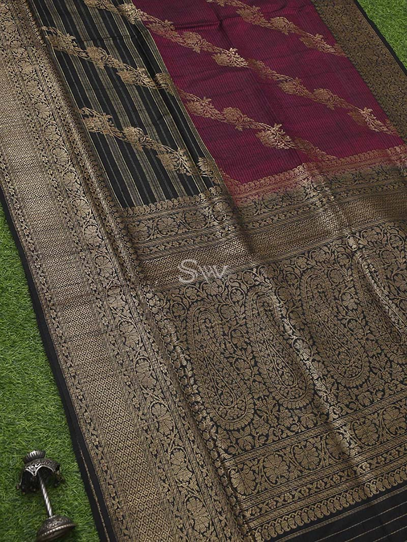 Magenta Black Dupion Silk Leheriya Handloom Banarasi Saree - Sacred Weaves