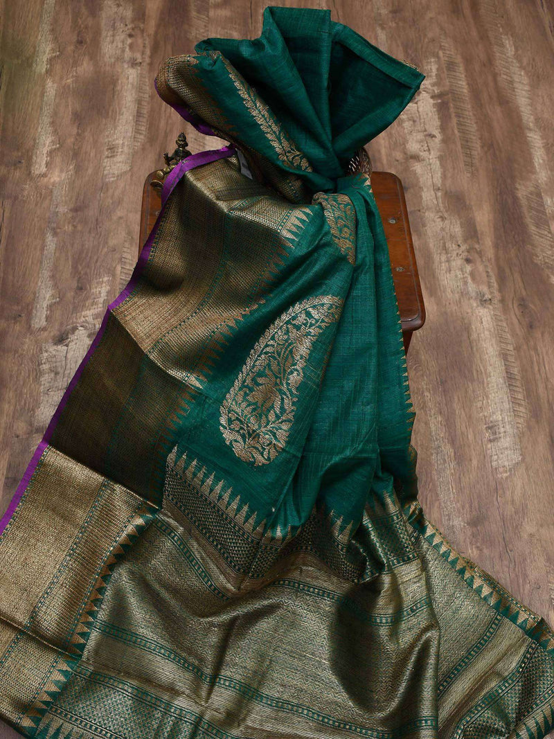 Dark Green Color Antique Zari Broad Border Pure Dupion Silk Banarasi Saree-Sacred Weaves