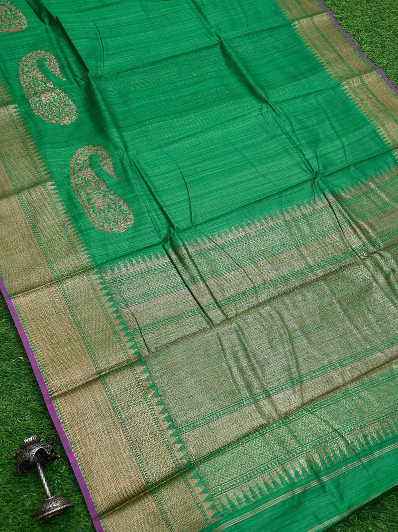 Emerald Green Color Antique Zari Broad Border Pure Dupion Silk Banarasi Saree-Sacred Weaves
