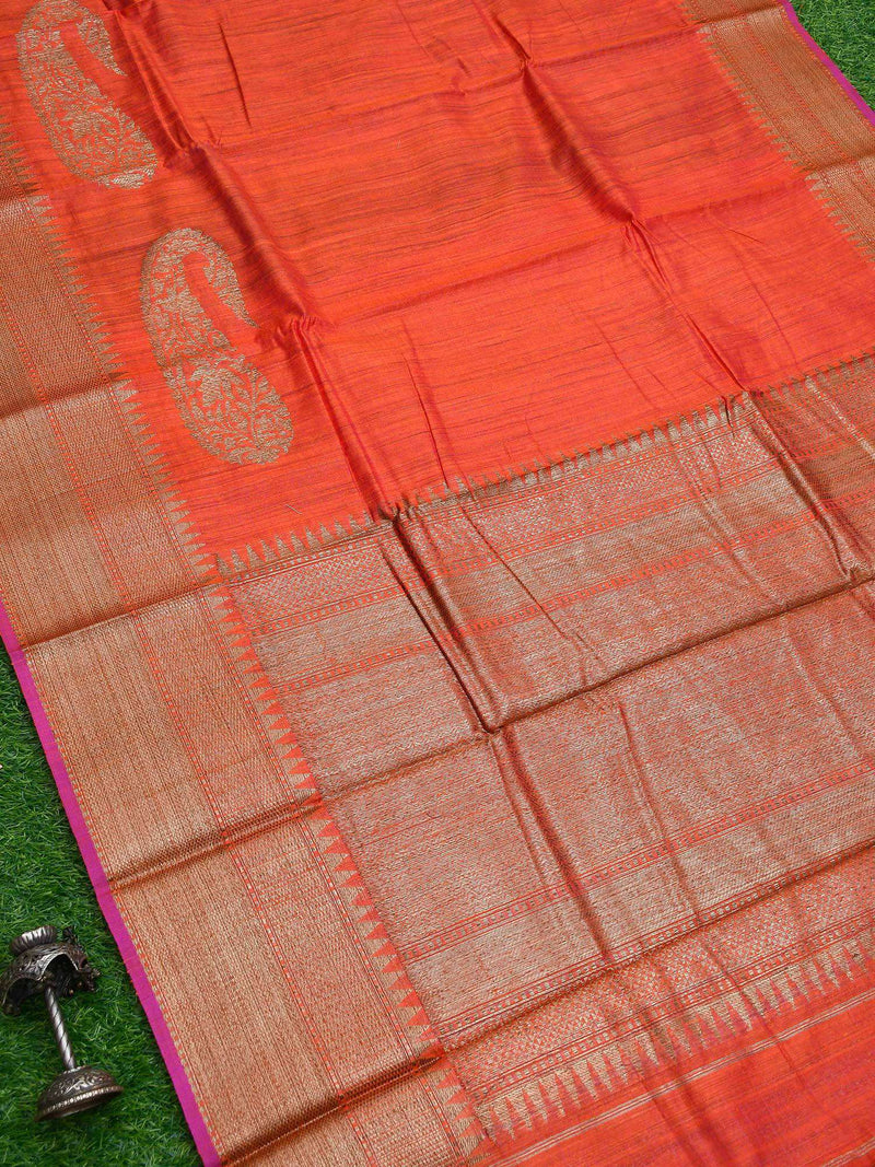 Rustic Orange Color Peisely Zari Broad Border Pure Dupion Silk Banarasi Saree-Sacred Weaves