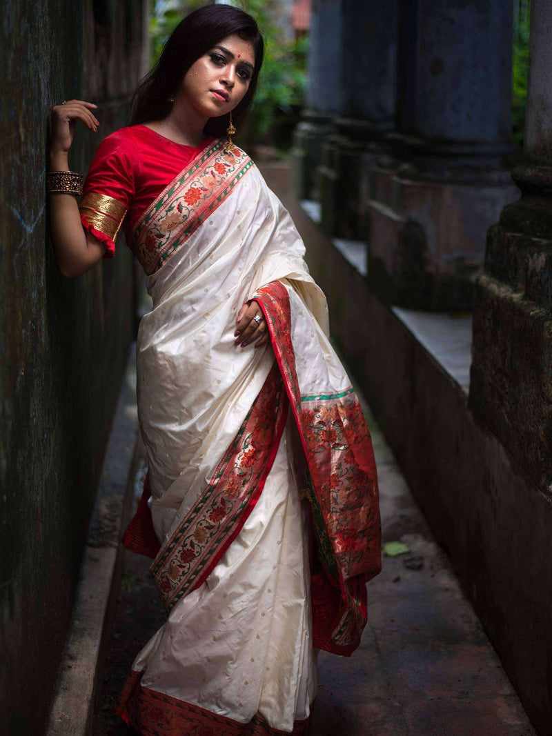 Off White Color Paithani Pallu Pure Katan Silk Banarasi Saree  - Sacred Weaves