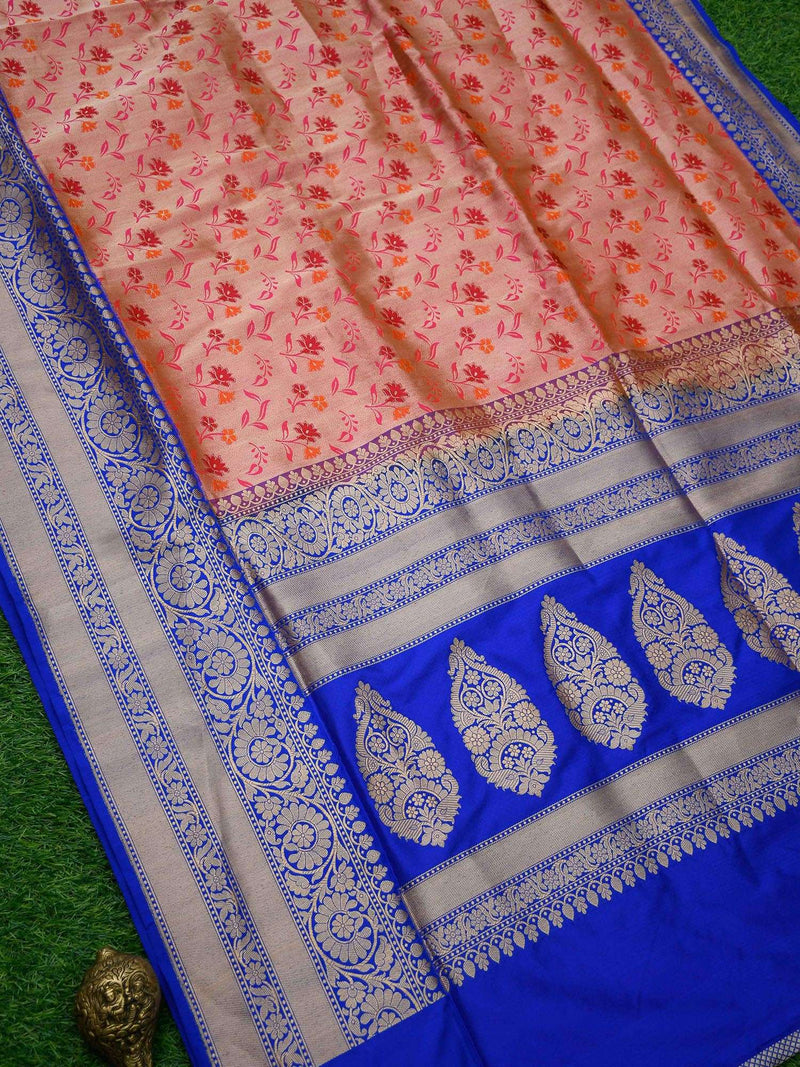 Pink Orange Dual Color Contrast Broad Border Pure Katan Silk Banarasi Saree - Sacred Weaves