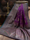 Purple Dupion Silk Banarasi Handloom Saree - Sacred Weaves