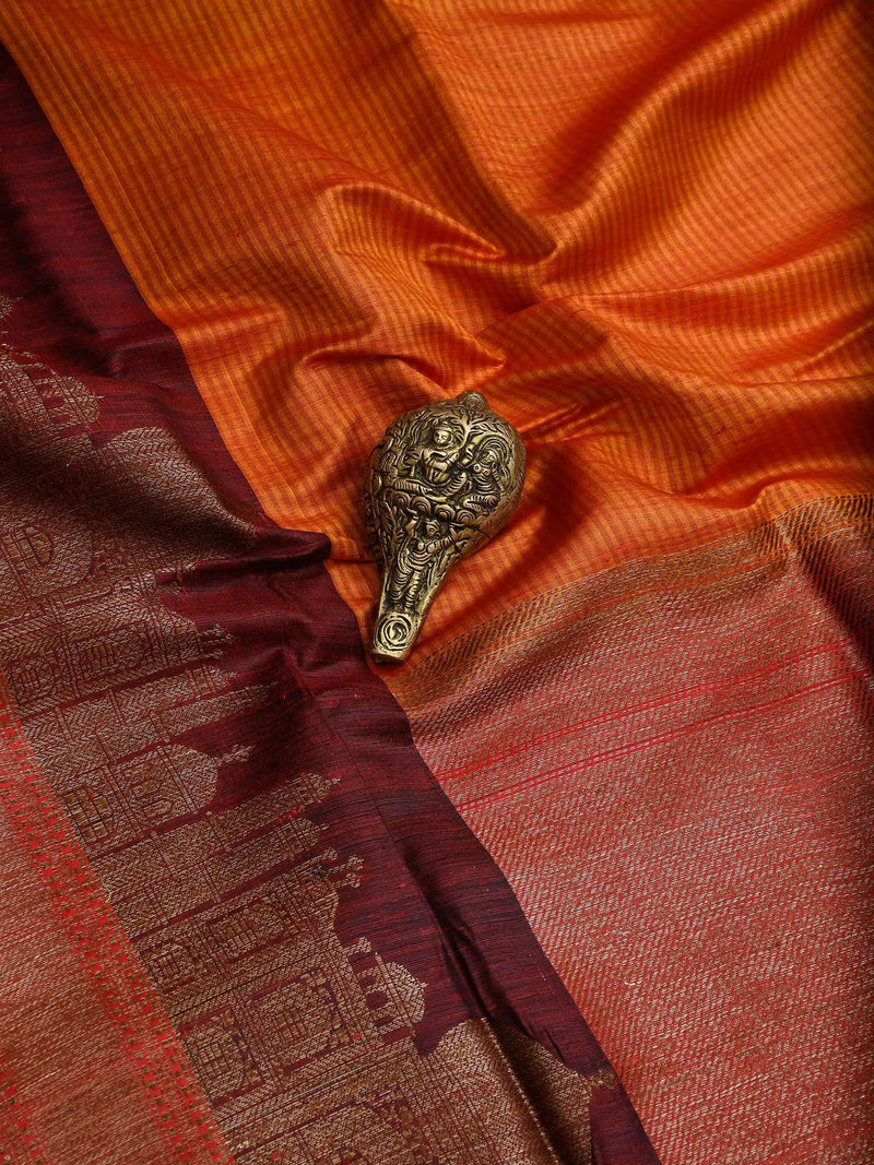 Rust Color Broad Border Pure Dupion Silk Banarasi Saree-Sacred Weaves