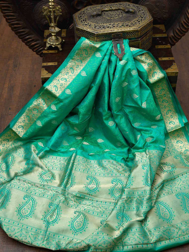 Emerald Green Gold Zari Border Pure Tanchoi Silk Banarasi Saree - Sacred Weaves