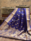 Dark Blue Color Gold Zari Border Pure Tanchoi Silk Banarasi Saree - Sacred Weaves