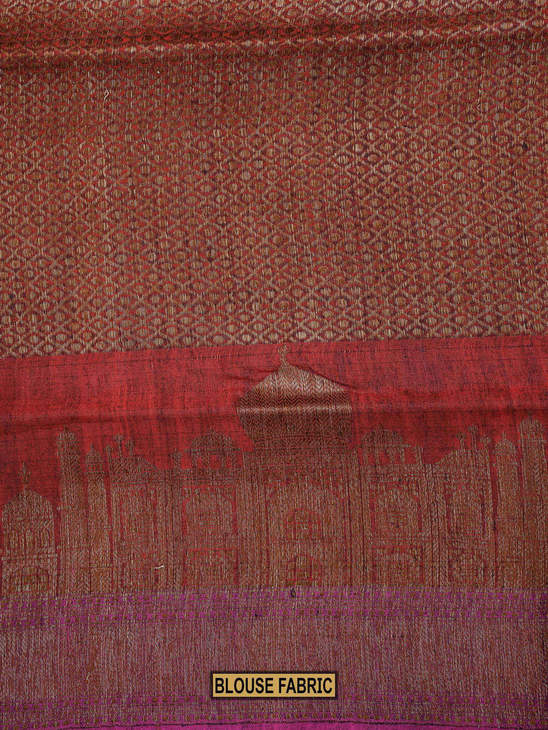 Copper Color Broad Border Pure Dupion Silk Banarasi Saree-Sacred Weaves