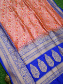 Orange Pink Dual Color Contrast Broad Border Pure Katan Silk Banarasi Saree- Sacred Weaves