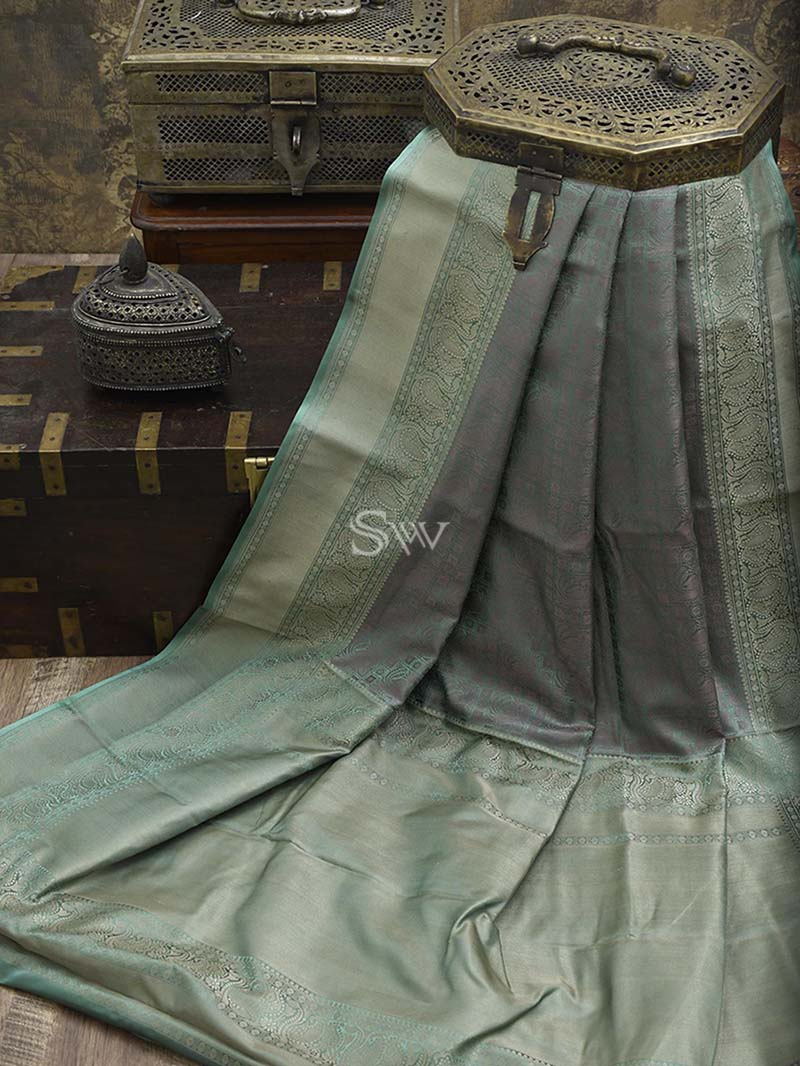 Sea Green Tanchoi Silk Handloom Banarasi Saree - Sacred Weaves