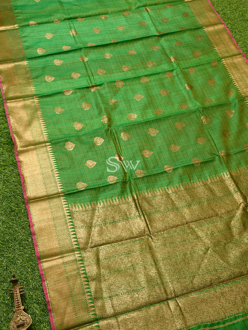 Green Dupion Silk Handloom Banarasi Saree - Sacred Weaves
