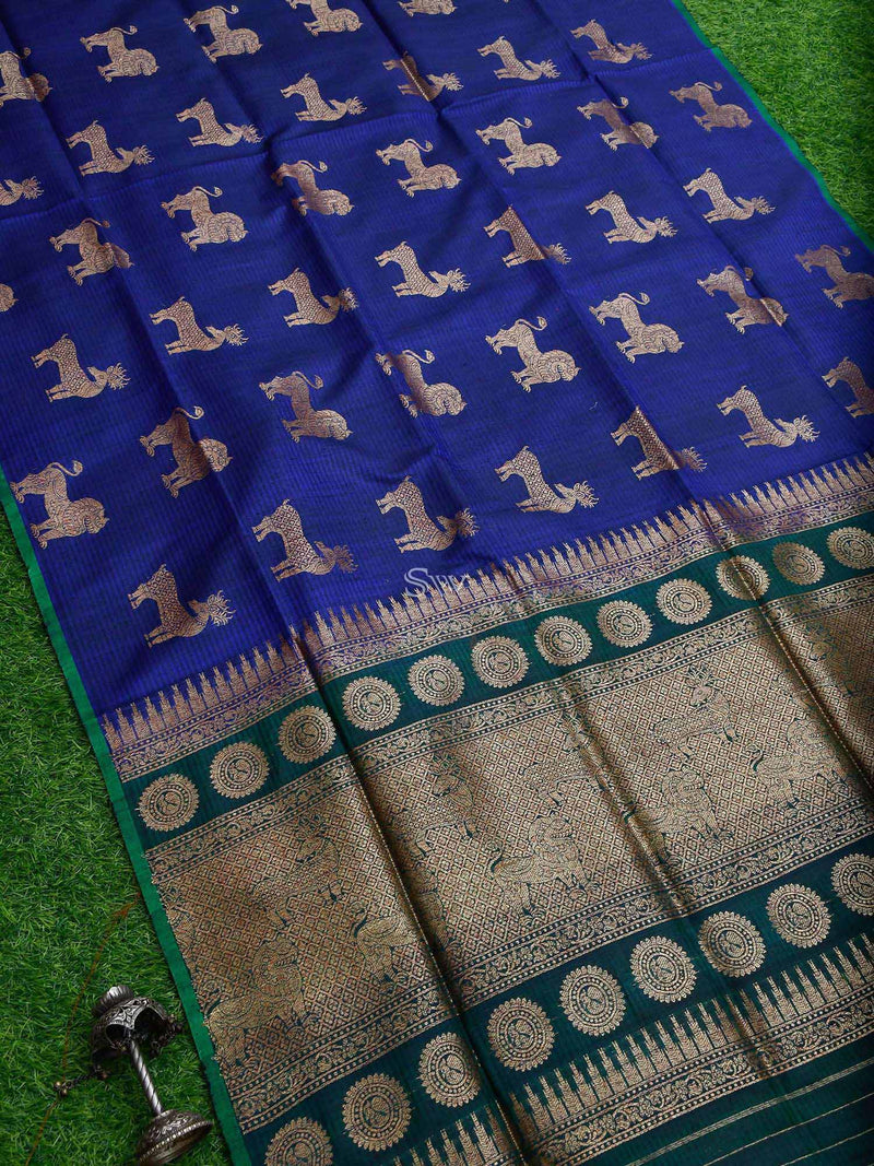 Inky Blue Color Shikargah Boota Pure Dupion Silk Banarasi Saree - Sacred Weaves