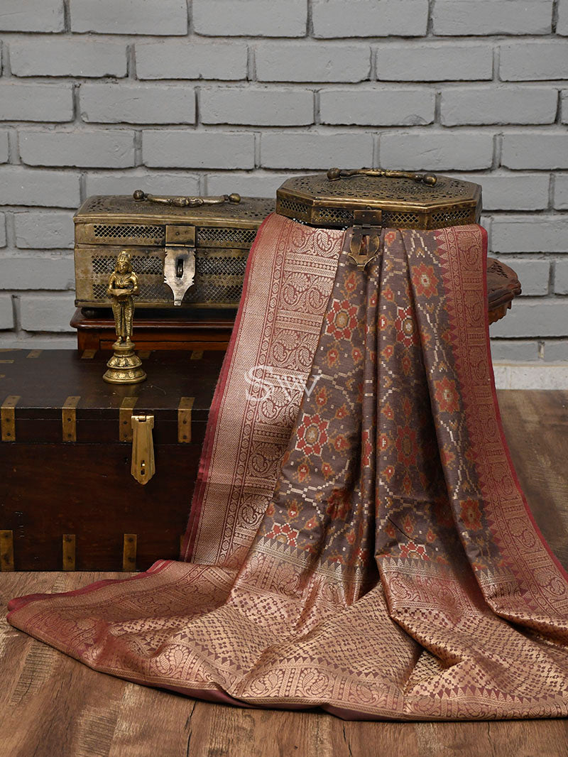 Brown Moonga Tussar Silk Handloom Banarasi Saree - Sacred Weaves