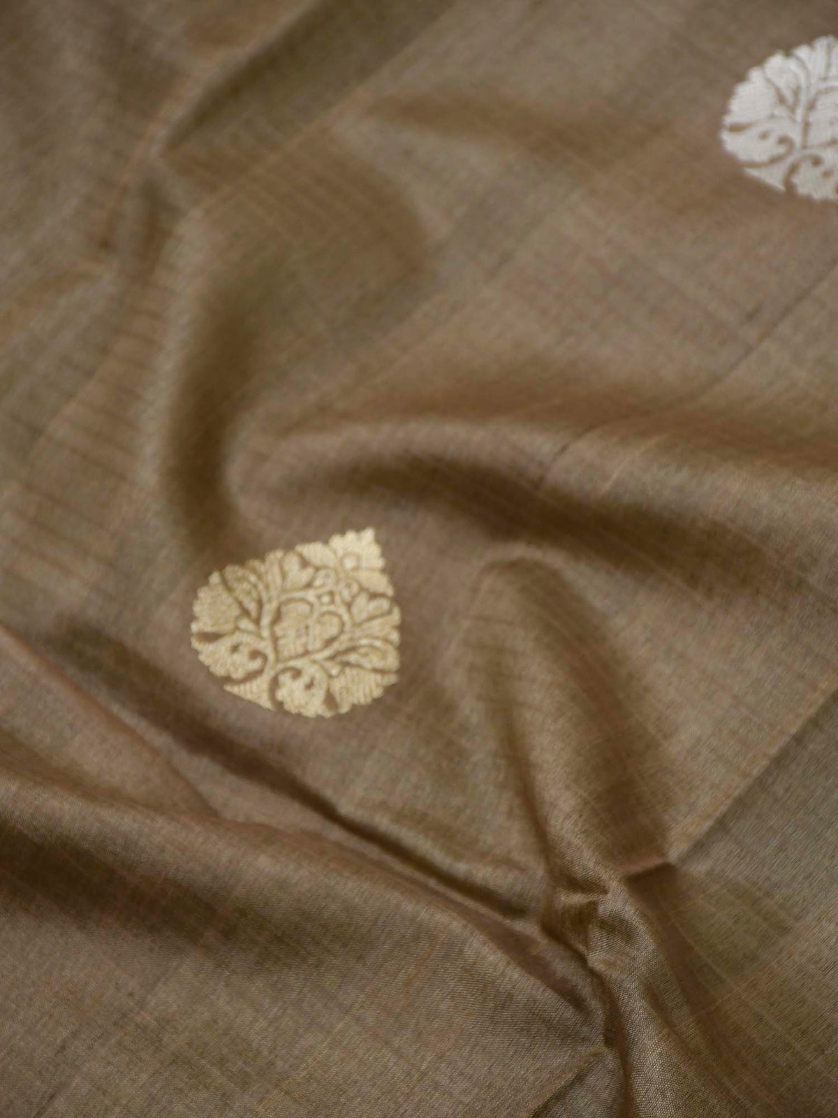 Pastel Brown Tussar Silk Handloom Banarasi Saree - Sacred Weaves