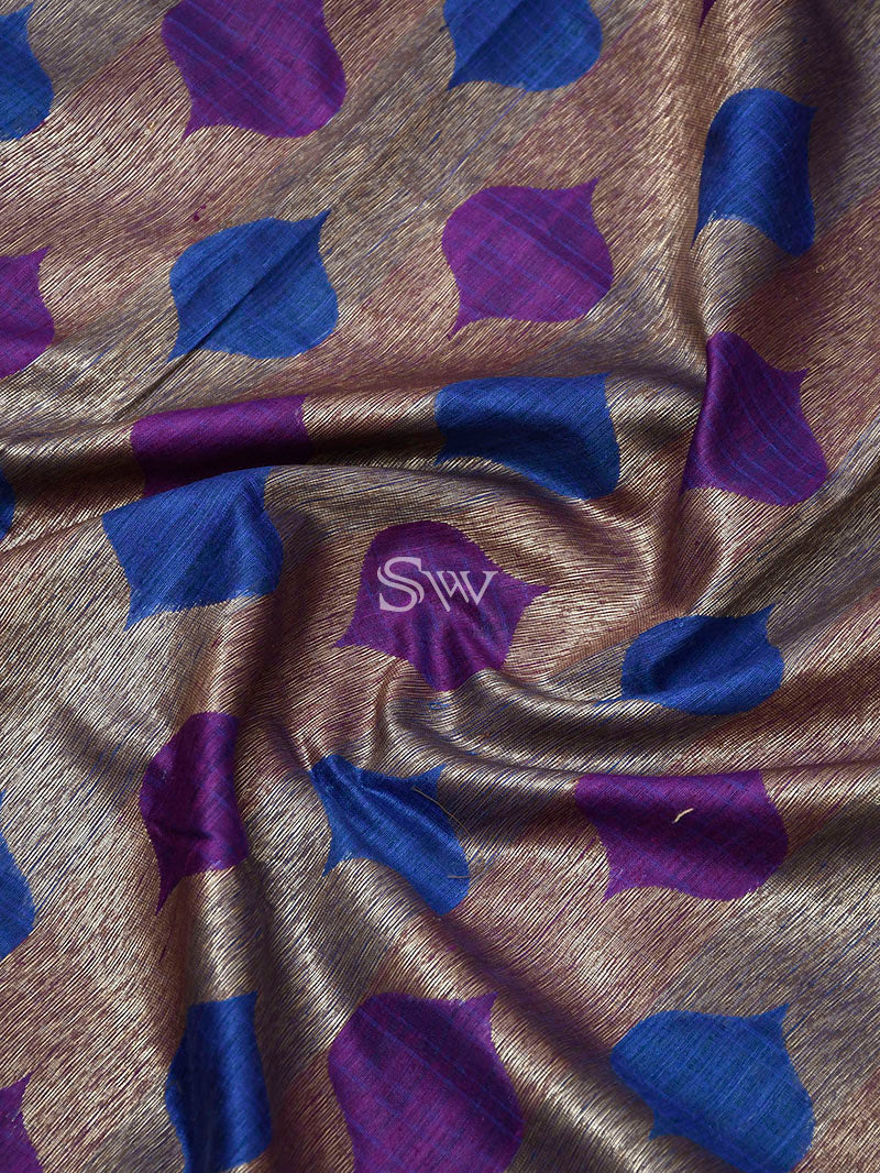 Blue Purple Dupion Silk Handloom Banarasi Saree - Sacred Weaves