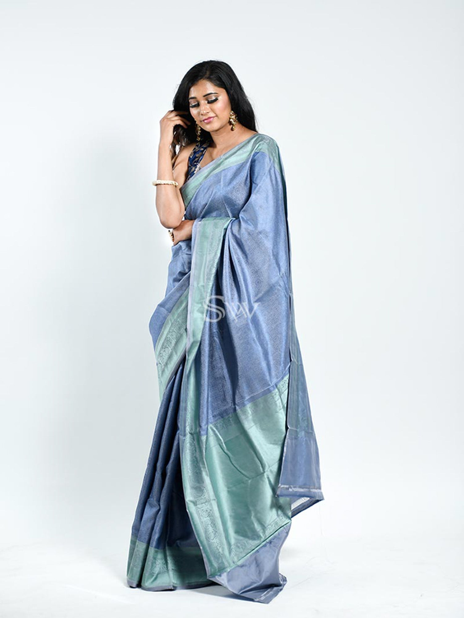 Blue Grey Tanchoi Silk Handloom Banarasi Saree - Sacred Weaves