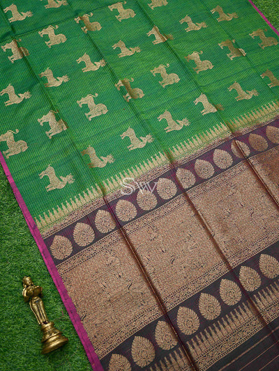 Emerald Green Color Shikargah Boota Pure Dupion Silk Banarasi Saree - Sacred Weaves