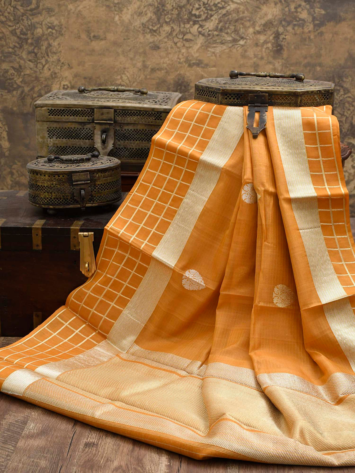 Pastel Orange Tussar Silk Handloom Banarasi Saree - Sacred Weaves