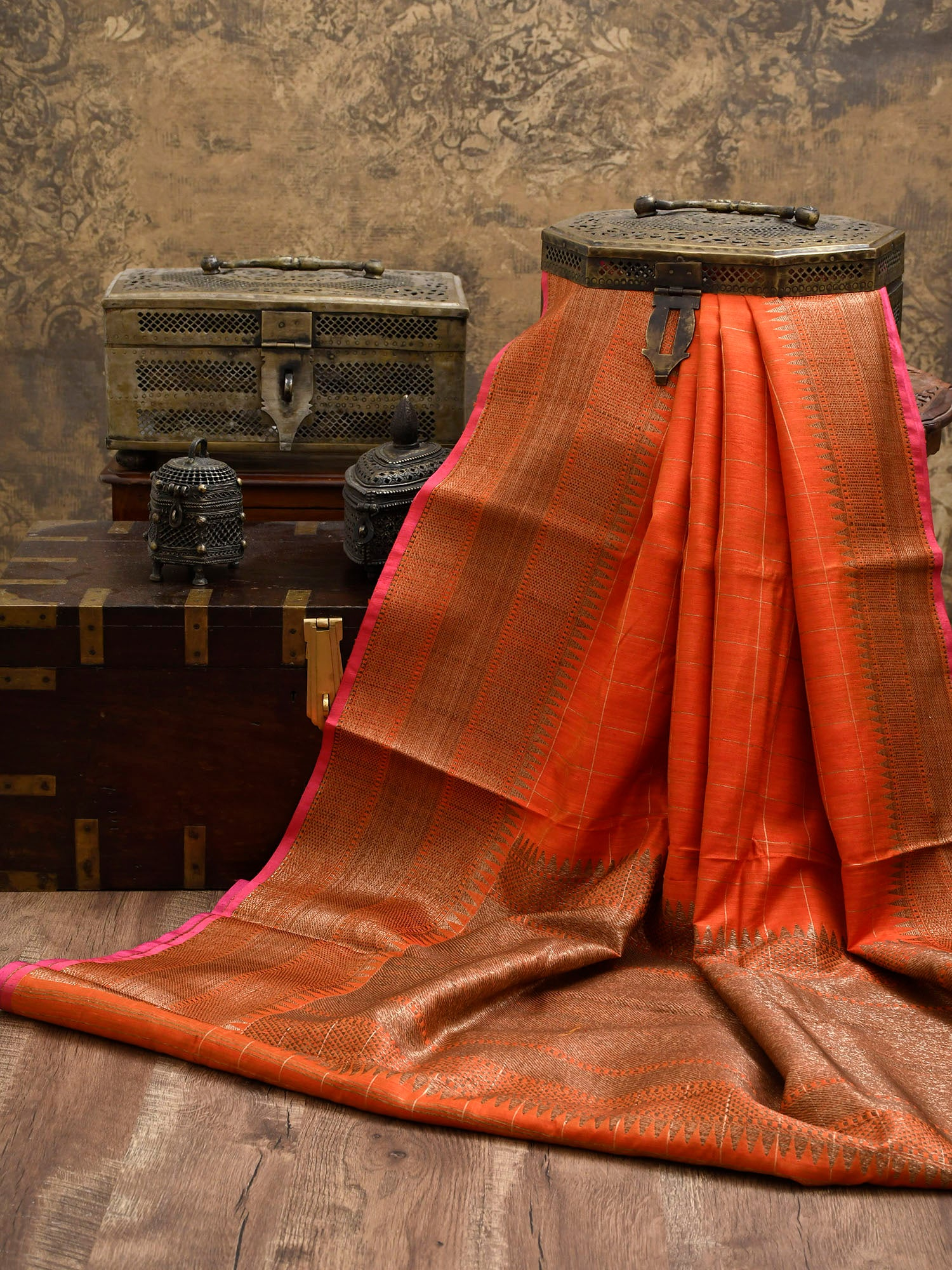 Orange Dupion Silk Handloom Banarasi Saree - Sacred Weaves