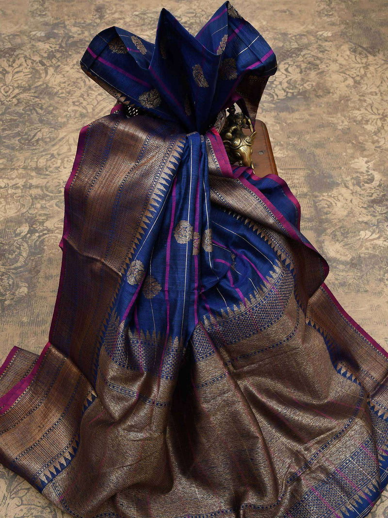 Navy Blue Color Stripe Antique Zari Boota Pure Dupion Silk Banarasi Saree-Sacred Weaves