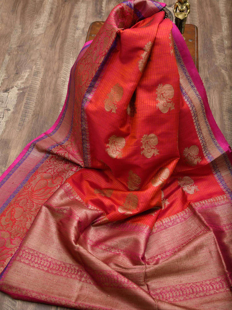 Rustic Orange Color Shikargah Boota Pure Dupion Silk Banarasi Saree - Sacred Weaves