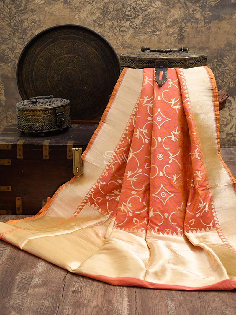 Orange Meenakari Katan Silk Handloom Banarasi Saree - Sacred Weaves
