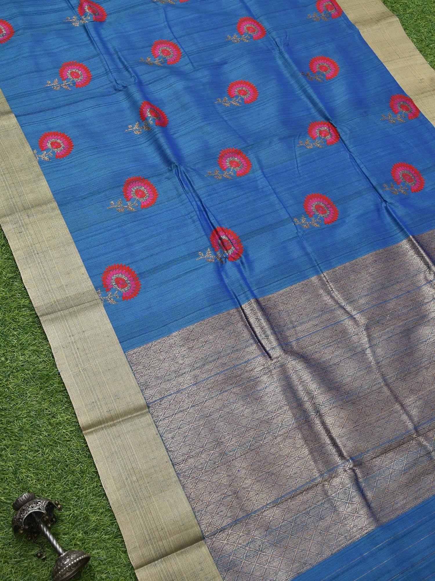 Royal Blue Meenakari Tussar Silk Handloom Banarasi Saree - Sacred Weaves