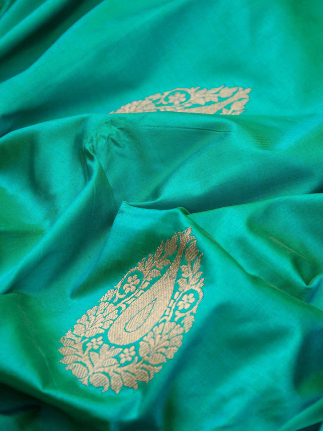 Emerald Green Color Contrast Broad Border Pure Katan Silk Banarasi Saree - Sacred Weaves