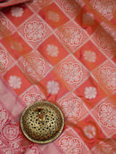 Orange Pink Dual Contrast Border Pure Katan Silk Banarasi Saree - Sacred Weaves