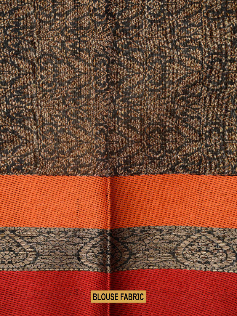 Black Color Antique Zari Broad Border Pure Tussar Silk Banarasi Saree- Sacred Weaves