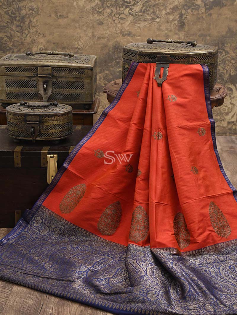 Orange Red Stripe Katan Silk Handloom Banarasi Saree - Sacred Weaves