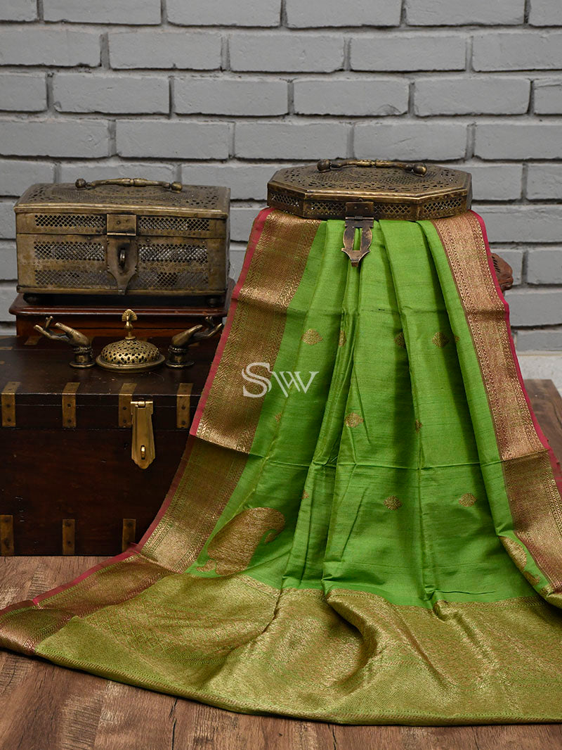 Green Tussar Silk Handloom Banarasi Saree - Sacred Weaves