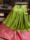 Green Stripe Katan Silk Banarasi Handloom Saree-Sacred Weaves