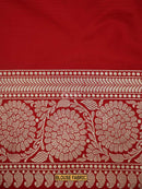 Gorgeous Red Color Floral Zari Pure Katan Silk Banarasi Saree - Sacred Weaves