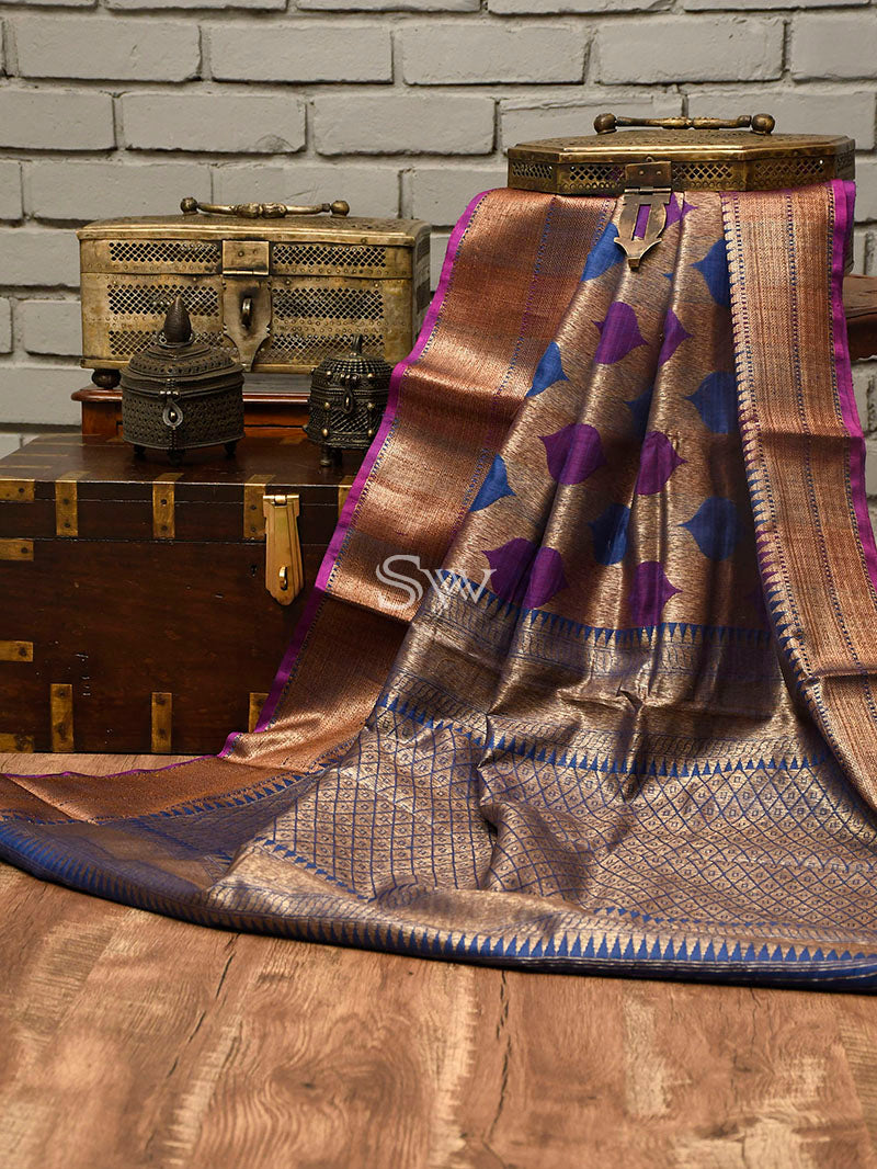 Blue-Purple Dupion Silk Handloom Banarasi Saree - Sacred Weaves