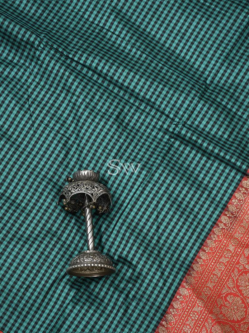 Green-Black Katan Silk Handloom Banarasi Saree - Sacred Weaves