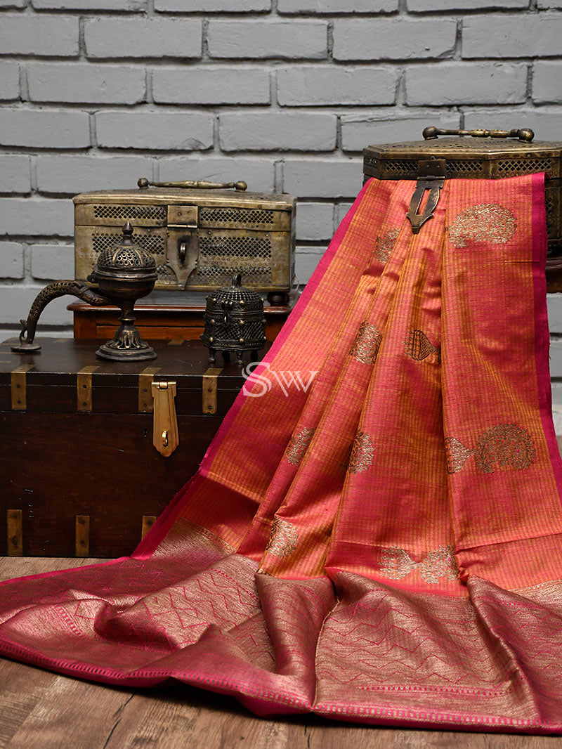 Orange-Pink Dupion Silk Handloom Banarasi Saree - Sacred Weaves