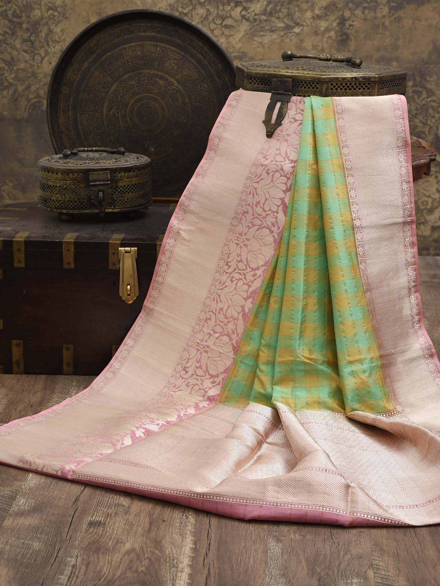 Green Checks Katan Silk Handloom Banarasi Saree - Sacred Weaves