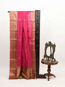 Vibrant Pink Color Gold Zari Broad Border Pure Tussar Silk Banarasi Saree - Sacred Weaves