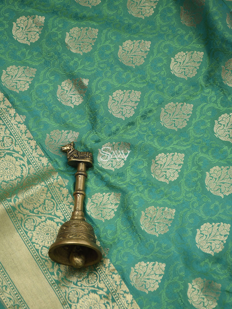 Green Tanchoi Silk Handloom Banarasi Saree - Sacred Weaves