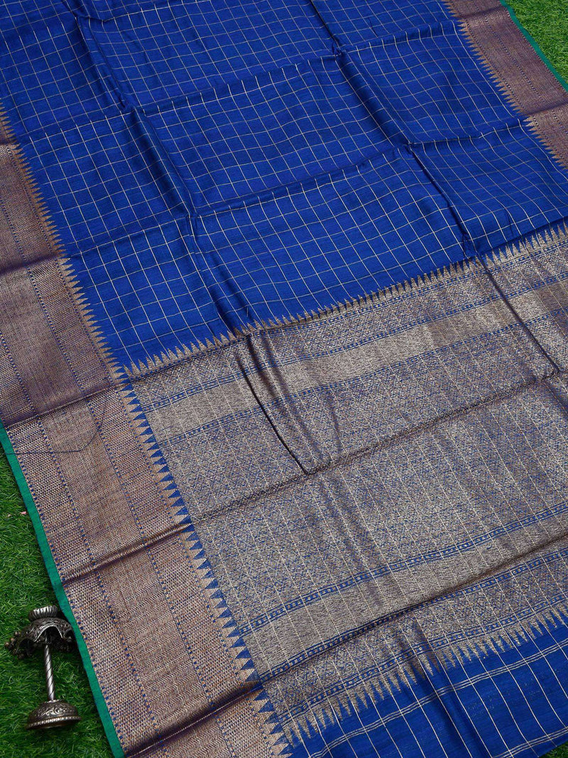 Royal Blue Color Golden Zari Check Brocade Border Pure Dupion Silk Banarasi Saree