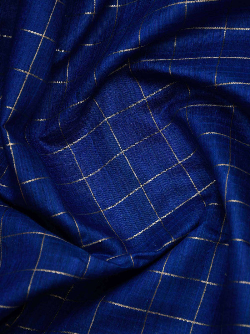 Royal Blue Color Golden Zari Check Brocade Border Pure Dupion Silk Banarasi Saree-Sacred Weaves
