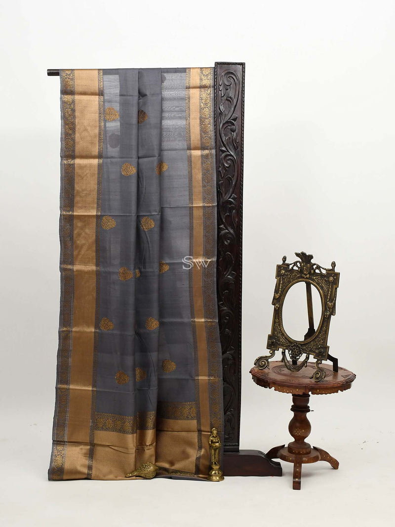 Grey Color Antique Zari Broad Boota Pure Tussar Silk Banarasi Saree - Sacred weaves